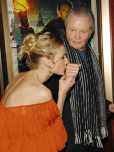 Diane kisses her co-star, Jon Voight's, hand