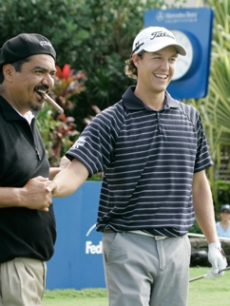 Funnyman George Lopez gets some pointers from a pro!