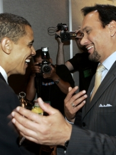 Barack Obama meets Jimmy Smits in Chicago, IL