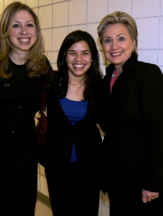 Hillary and Chelsea Clinton pose with America Ferrera in Las Vegas