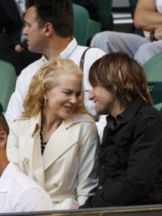 Nicole Kidman and husband Keith Urban in the stands at the Australian Open tennis tournament