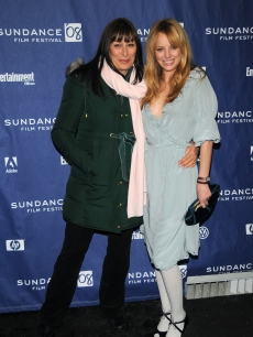 Anjelica Huston and Bijou Phillips arrive at the premiere of 'Choke' during the Sundance Film Festival