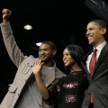 Usher and Kerry Washington with Democratic presidential hopeful Sen. Barack Obama at a rally at South Carolina State University