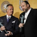 Tony Sirico and James Gandolfini show off the SAG award for best TV drama for 'The Sopranos'