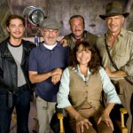 Shia LaBeouf, director Steven Spielberg, Ray Winstone, Karen Allen and Harrison Ford on the set