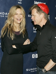 Meg Ryan and William H. Macy laugh together on the red carpet at the premiere of their film 'The Deal' at Sundance