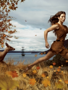 Jessica Biel as Pocahontas in an image titled 'Where Dreams Run Free,' created by photographer Annie Leibovitz