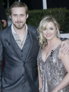 Ryan Gosling and his sister pose on the red carpet