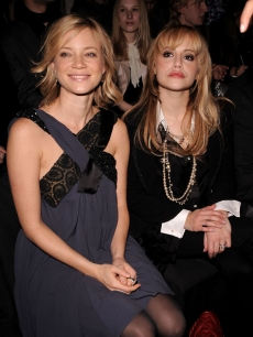 Amy Smart and Brittany Murphy at the Max Azria 2008 Fall Collection during Fashion Week in New York 