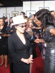 Yoko Ono talks to Access Hollywood at the Grammys