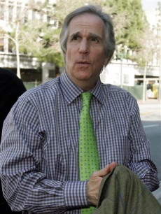 Henry Winkler arrives to the John Ritter trial on Feb. 13