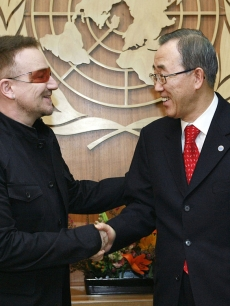 UN Secretary General Ban Ki Moon meets with Bono at the U.N. headquarters in New York