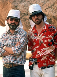 Producer George Lucas and director Steven Spielberg on location in Tunisia