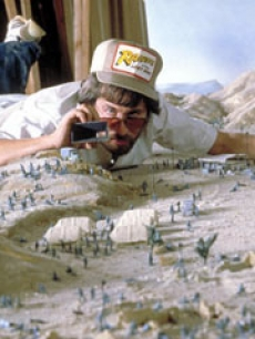 Director Steven Spielberg plans the desert shoot of 'Raiders of the Lost Ark'