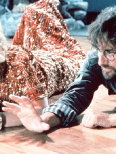 Kate Capshaw and director Steven Spielberg on the set