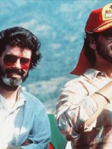 Executive producer George Lucas and director Steven Spielberg on the set