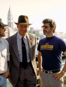 Director Steven Spielberg, Harrison Ford and producer George Lucas