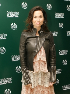 Minnie Driver wears a wild outfit to an event at The Body Shop in NY