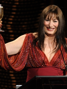 Anjelica Huston toasts the crowd at the close of the 10th Annual Costume 