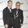 Elton John (right) and his partner David Furnish at Elton's annual Oscar party