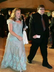 Michael Moore and his wife, Kathleen Glynn, at the Governors Ball