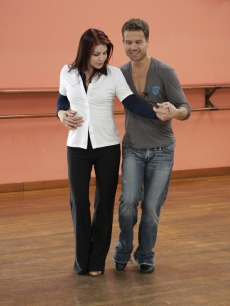 Priscilla Presley and her dance partner Louis van Amstel