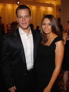 Parents-to-be Matt Damon and wife Luciana at the Empire awards in London