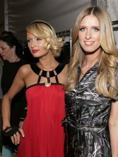 Designer Nicky Hilton and Paris Hilton at the Nicholai Fall fashion show