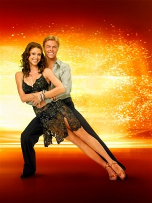 Shannon Elizabeth and partner Derek Hough