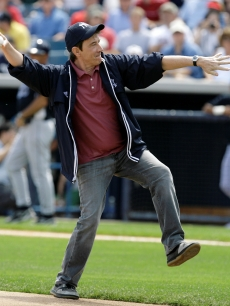 Martin Short throws the first pitch in the Rays game against the Yankees
