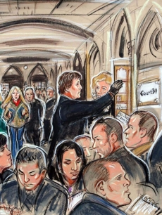 A Court artist's sketch of Heather Mills being led away after dousing McCartney's lawyer with water