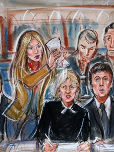 A Court artist&#039;s sketch of Heather Mills dousing Paul McCartney&#039;s lawyer with water