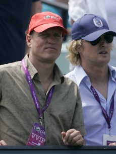 Woody Harrelson and Owen Wilson check out a tennis tournament in Key Biscayne, FL