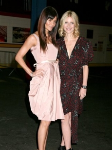 Helena Christensen and Gwyneth Paltrow at the Food Bank awards dinner