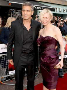 Stylish 'Leatherheads' co-stars George Clooney and Renee Zellweger in London