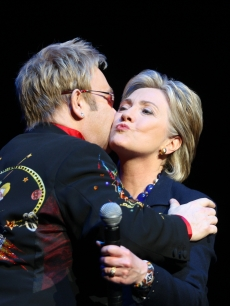 Elton John joins Hillary Clinton onstage at Radio City Music Hall in New York