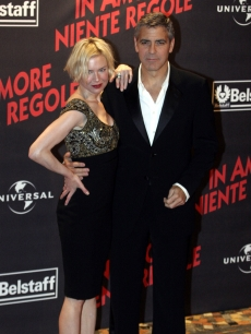 Renee Zellweger and George Clooney promote 'Leatherheads' in Italy