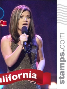 Kelly Clarkson on a Photostamp.com postage stamp benefiting 'Idol Gives Back'