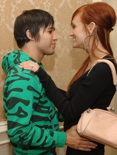 Pete Wentz and Ashlee Simpson, wearing her engagment ring, at the Ritz in NY