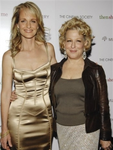 Helen Hunt and Bette Midler attend a premiere, NYC, April 21, 2008