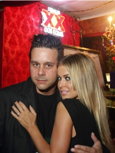 Carmen Electra shows off her new engagement ring with fiancee Rob Patterson in Texas