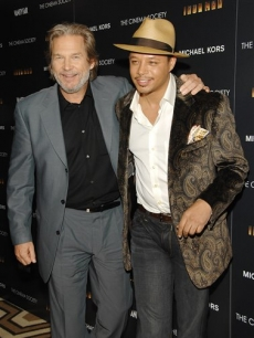 Jeff Bridges and Terrence Howard at the Tribeca Grand Hotel for 'Iron Man'