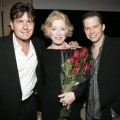 "Charlie Sheen, Holland Taylor and Jon Cryer pose at a ""TV Moms"" tribute"
