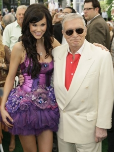 Hugh Hefner and 2008 Playmate of the Year Jayde Nicole, at the Playboy Mansion