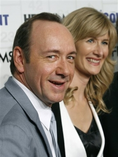 Kevin Spacey and Laura Dern pose on the red carpet in NYC