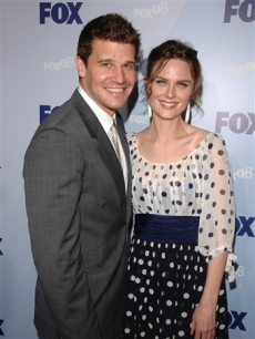 David Boreanaz and Emily Deschanel from 'Bones' at the Fox upfronts, May 15, 2008