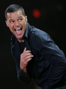 Ricky Martin dances during a concert in Mexico City