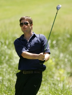 Luke Wilson takes a swing during the third round of the BMW Charity Pro-Am