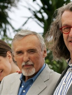 Dennis Hopper and his 'The Palermo Shooting' castmates pose in Cannes