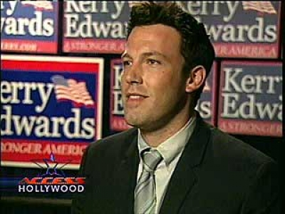 Ben attends a John Kerry/John Edwards rally (2004)